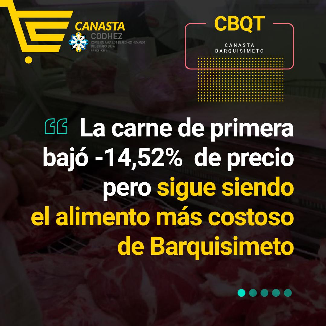 La carne de primera bajó su precio -14,52%, pero sigue siendo el alimento más costoso en Barquisimeto
